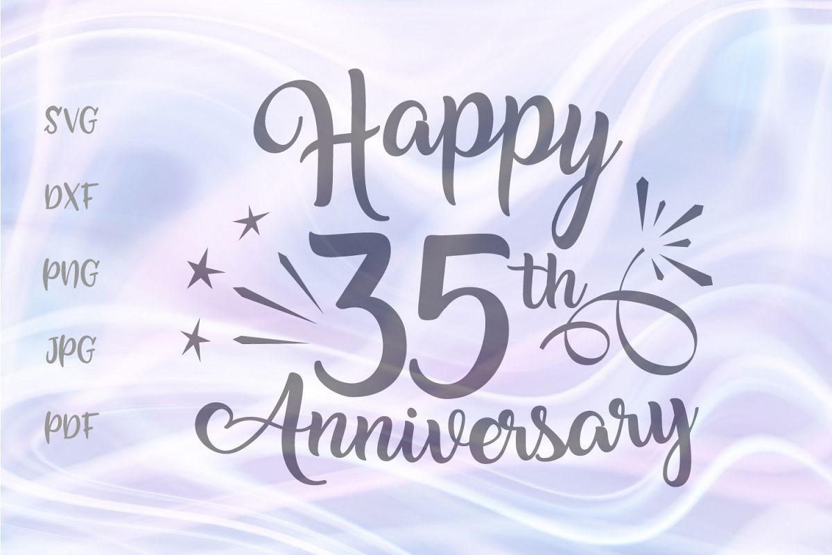 Happy 35th Anniversary Thirty Five Year Jade Coral Wed Sign example image 1