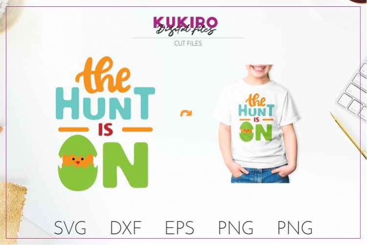 The hunt is on - EASTER cut file SVG DXF EPS PNG JPG example image 1