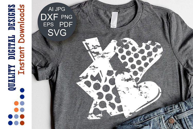 Valentines day svg Xoxo clipart Grunge example image 1