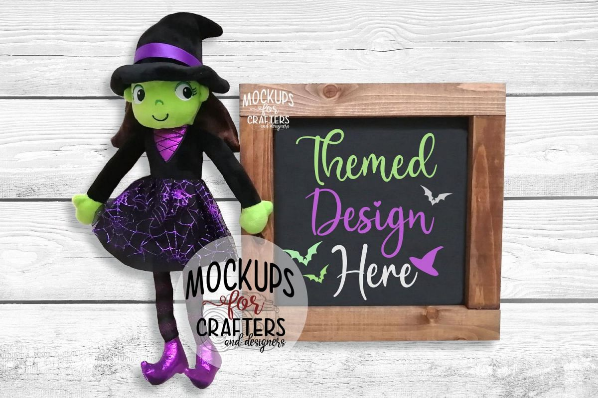 Halloween Wood Sign Mock-Up - witch stuffie example image 1