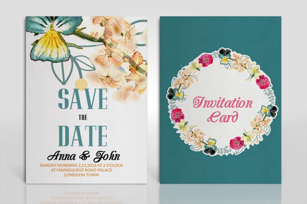 double sided wedding invitation cards b design bundles