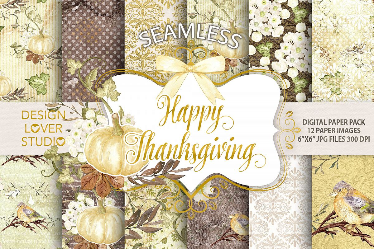 Happy Thanksgiving 2 digital paper pack example image 1