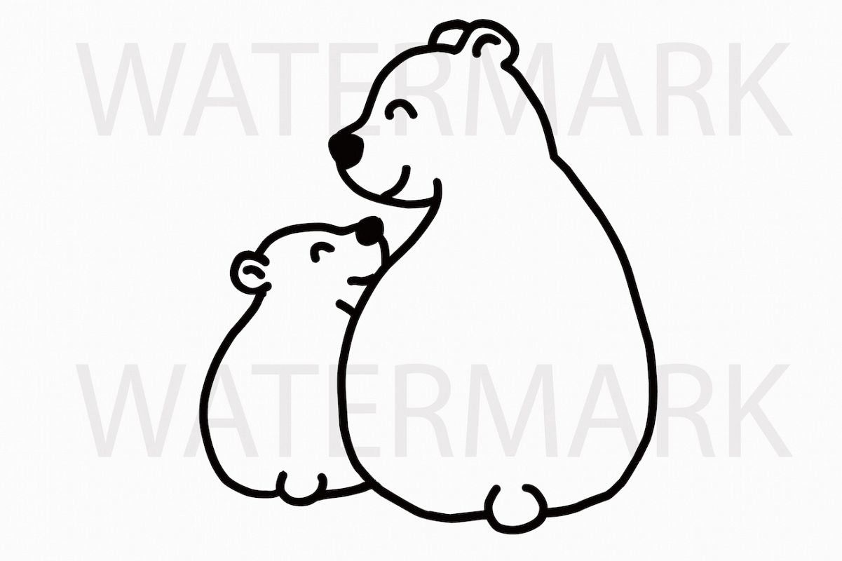 Mama Bear and Bear Cub Sitting and Smiling with love - SVG/JPG/PNG Hand Drawing example image 1