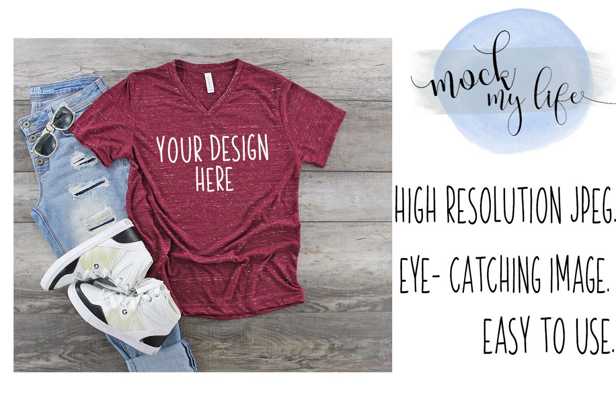 Bella Canvas Mockup / Plain Shirt Mock up / Maroon Marble example image 1