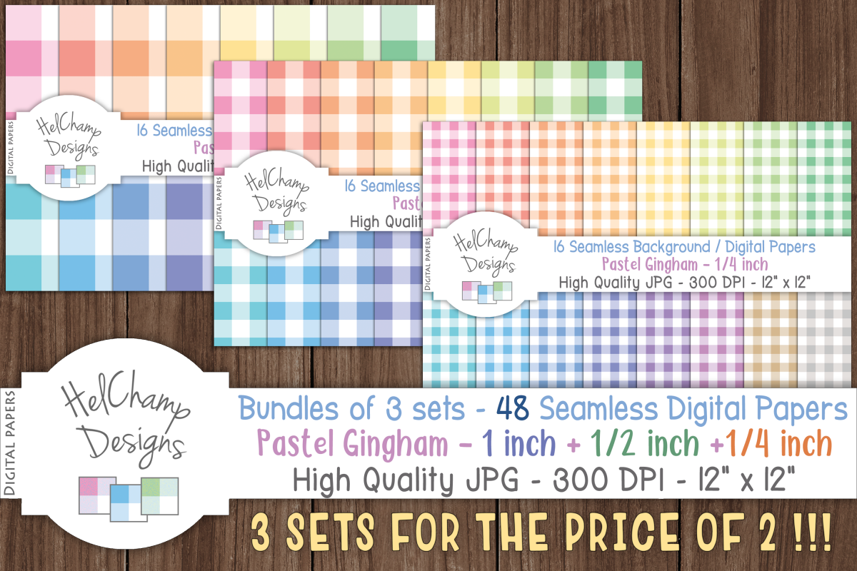 48 seamless Digital Papers - Pastel Gingham serie - DB001 example image 1
