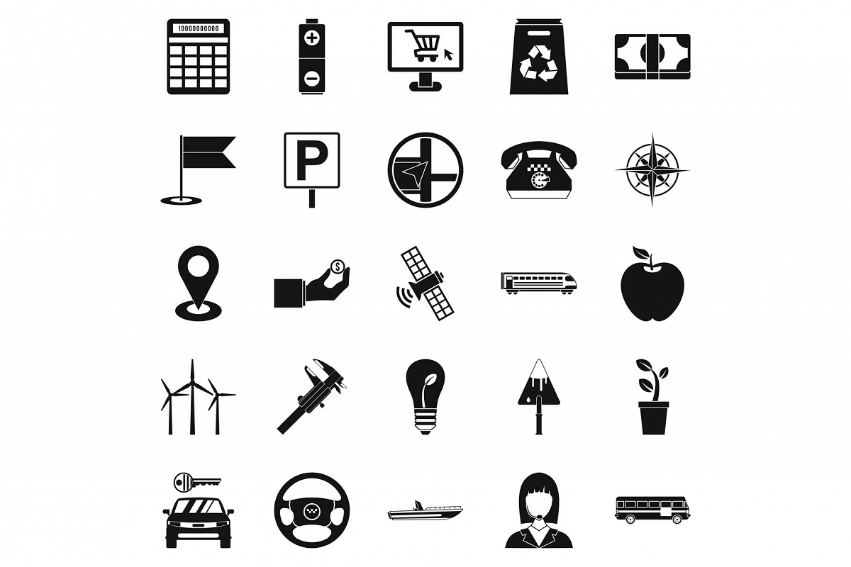 Engineering icons set, simple style example image 1