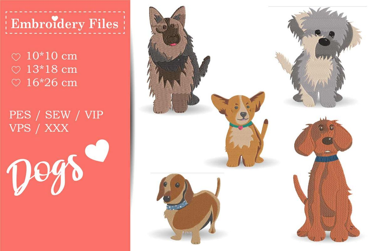 Dogs - Mini Bundle - Embroidery Files for Beginners example image 1