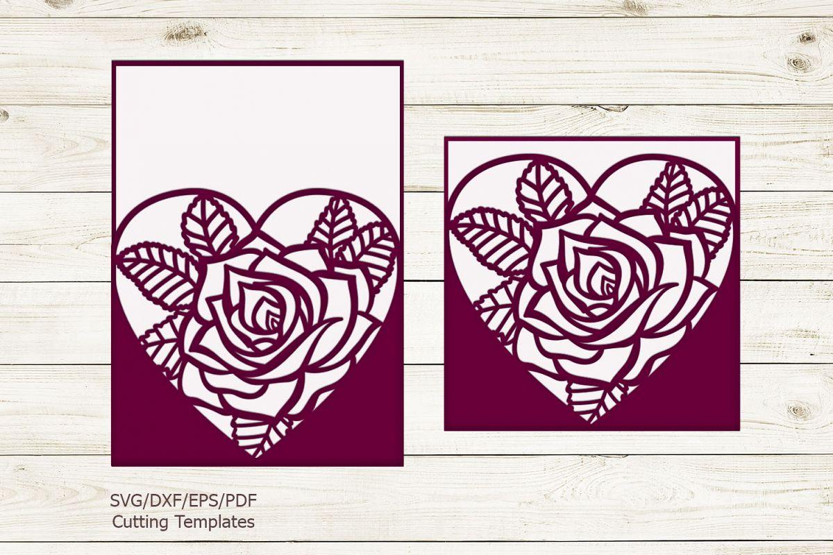 Rose heart Pocket envelope Wedding Invitation svg laser cut example image 1