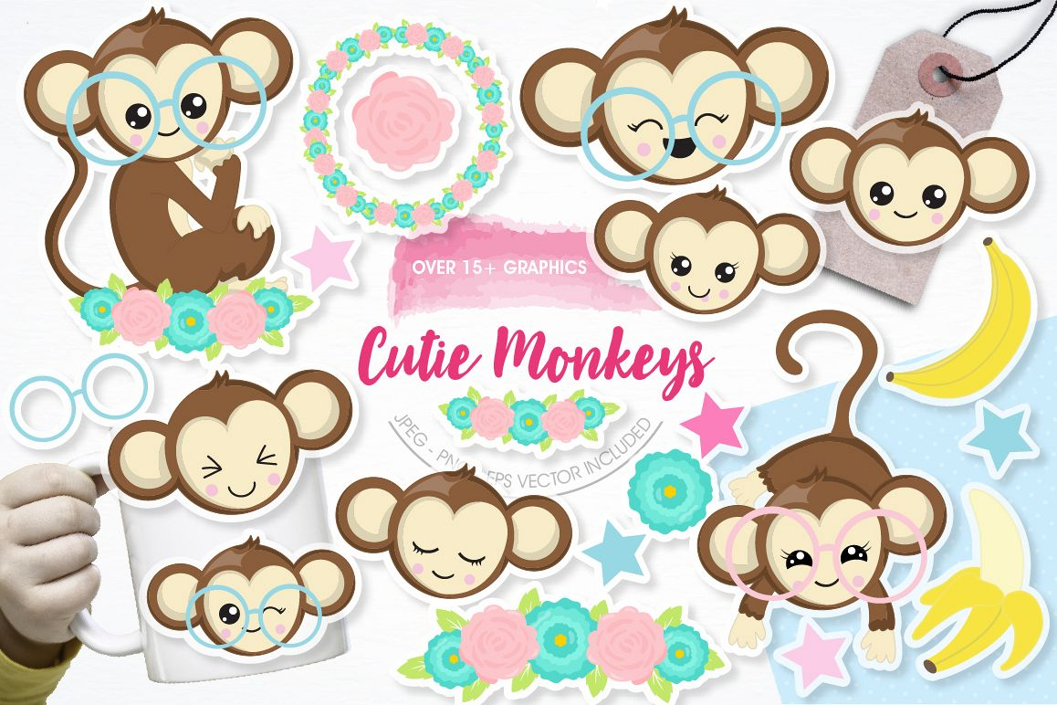 Cutie Monkeys graphics and illustrations example image 1
