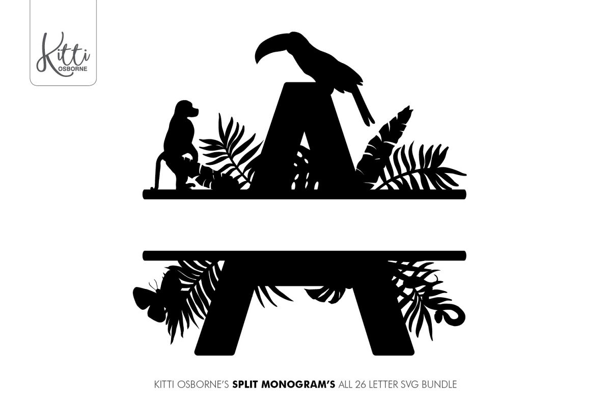 Split Letters A-Z SVG's Jungle Monograms example image 1