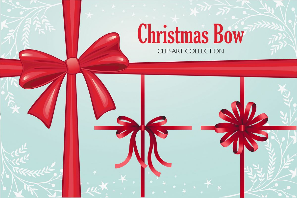 Christmas Bow Clip-art Collection example image 1