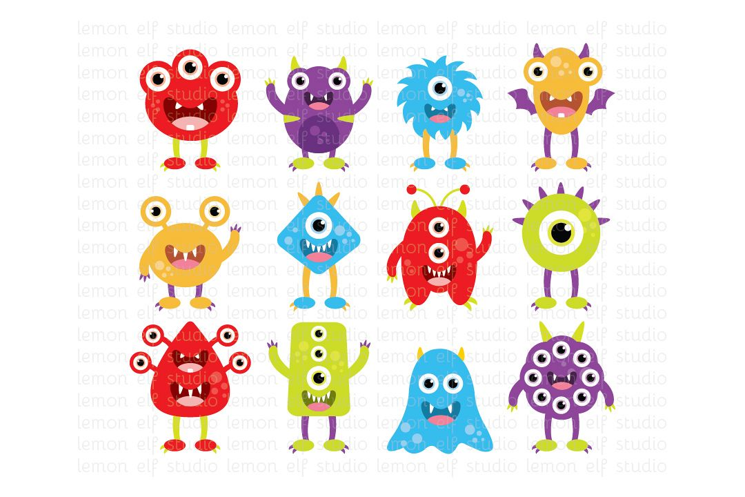 Silly Monsters-Digital Clipart (LES.CL03A) example image 1