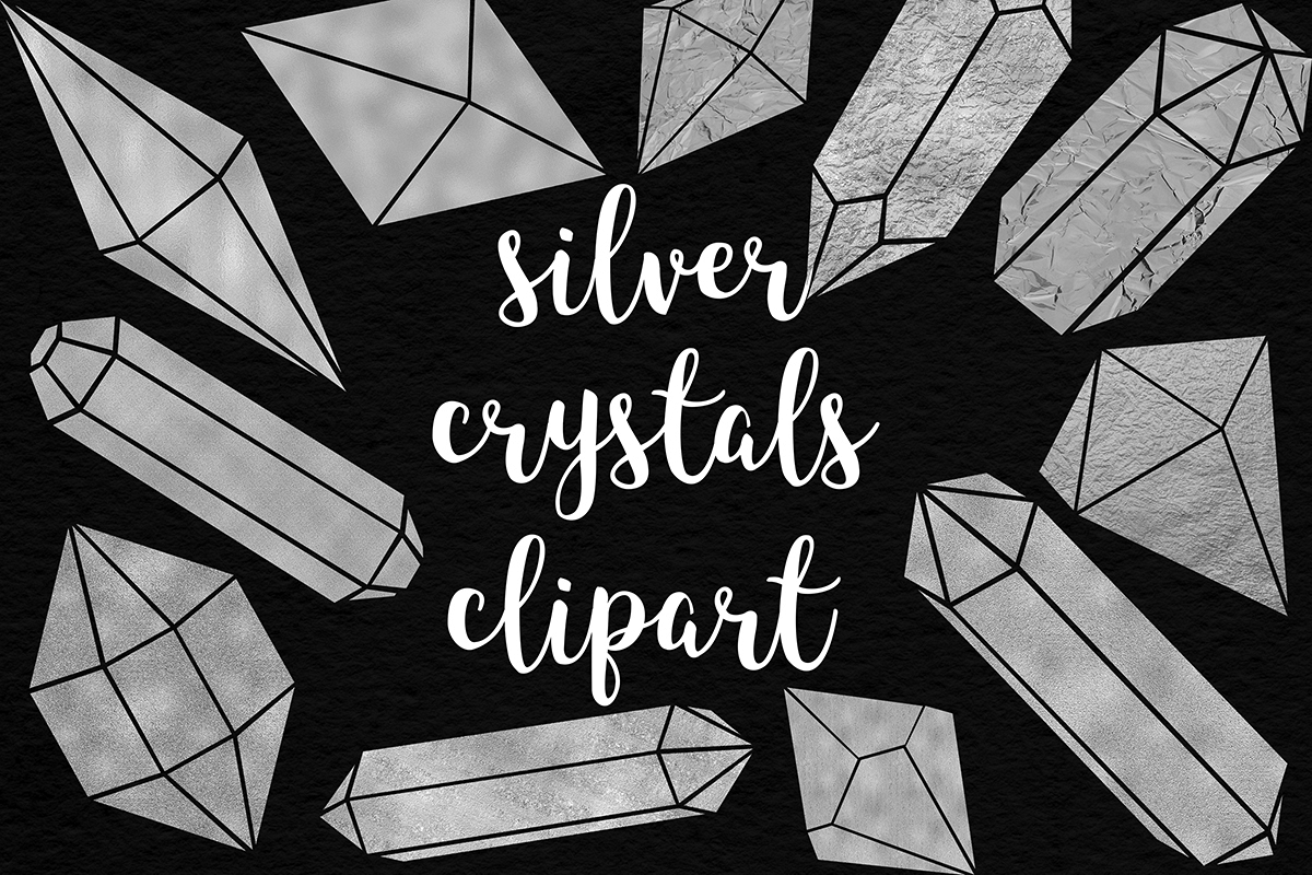 Silver Crystals Clipart example image 1