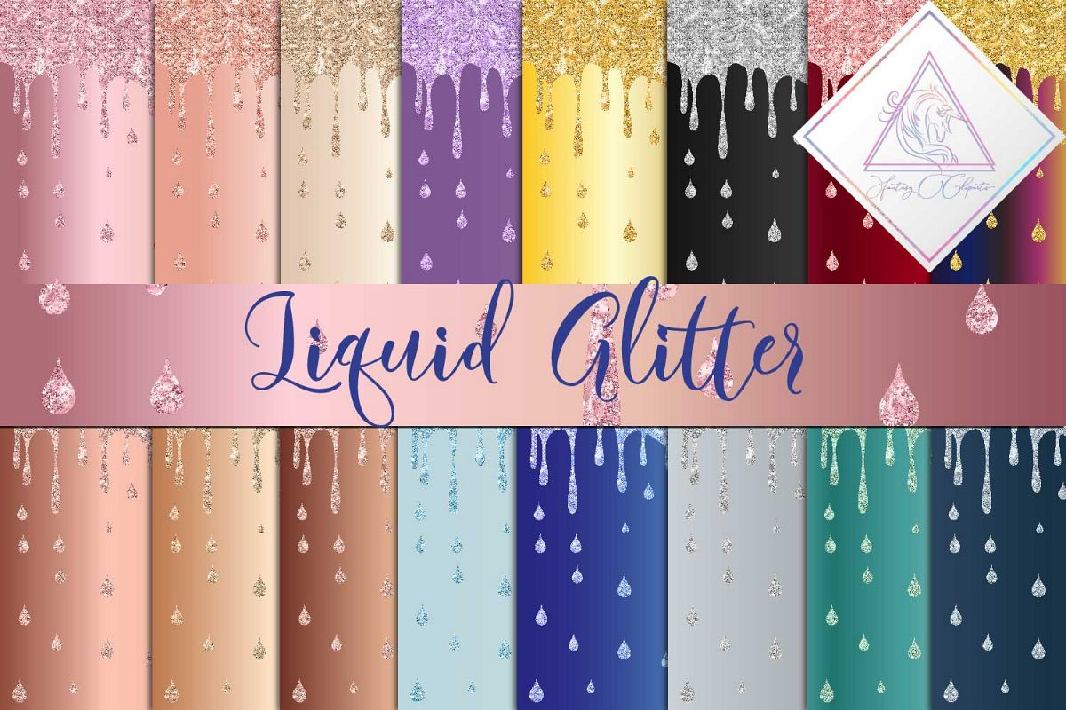 Liquid Glitter Digital Paper example image 1