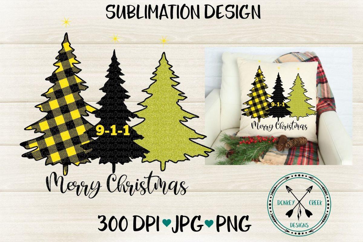 9-1-1 Dispatcher Thin Gold Line Christmas Trees Sublimation example image 1