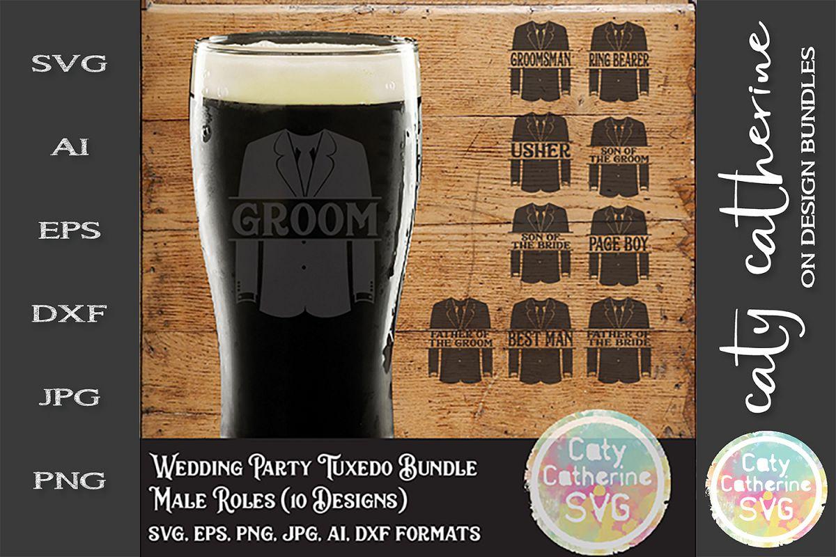 Wedding Party Male Roles Tuxedo Bundle SVG Cut File example image 1