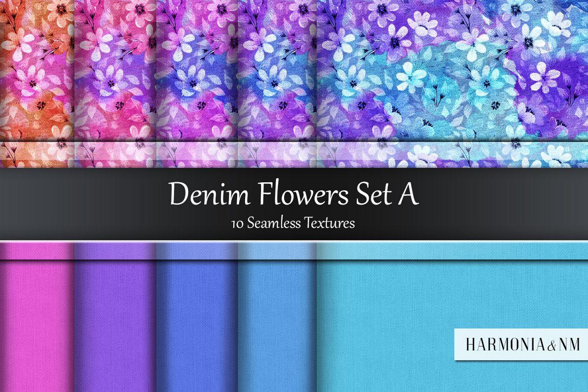 Denim Flowers Set A 10 Seamless Textures example image 1