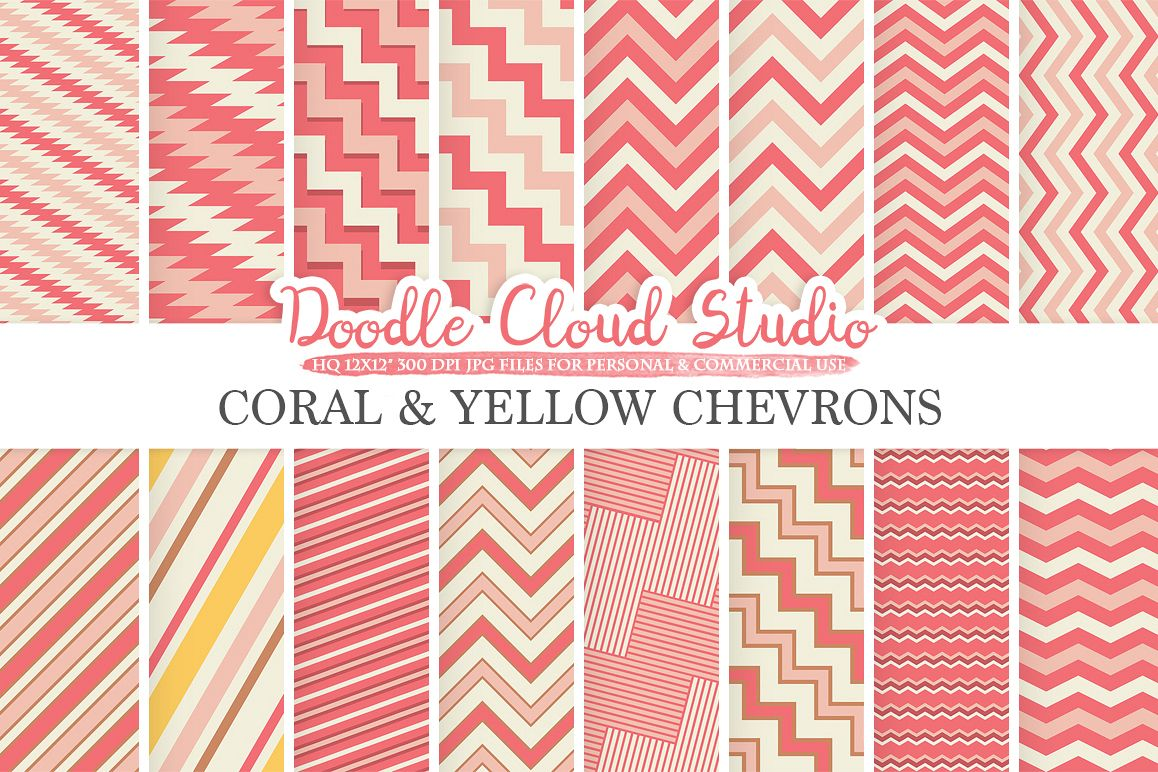 Coral and Yellow Chevron digital paper Pink Coral Yellow Chevron and Stripes  pattern Zig Zag lines background for Personal & Commercial Use example image 1