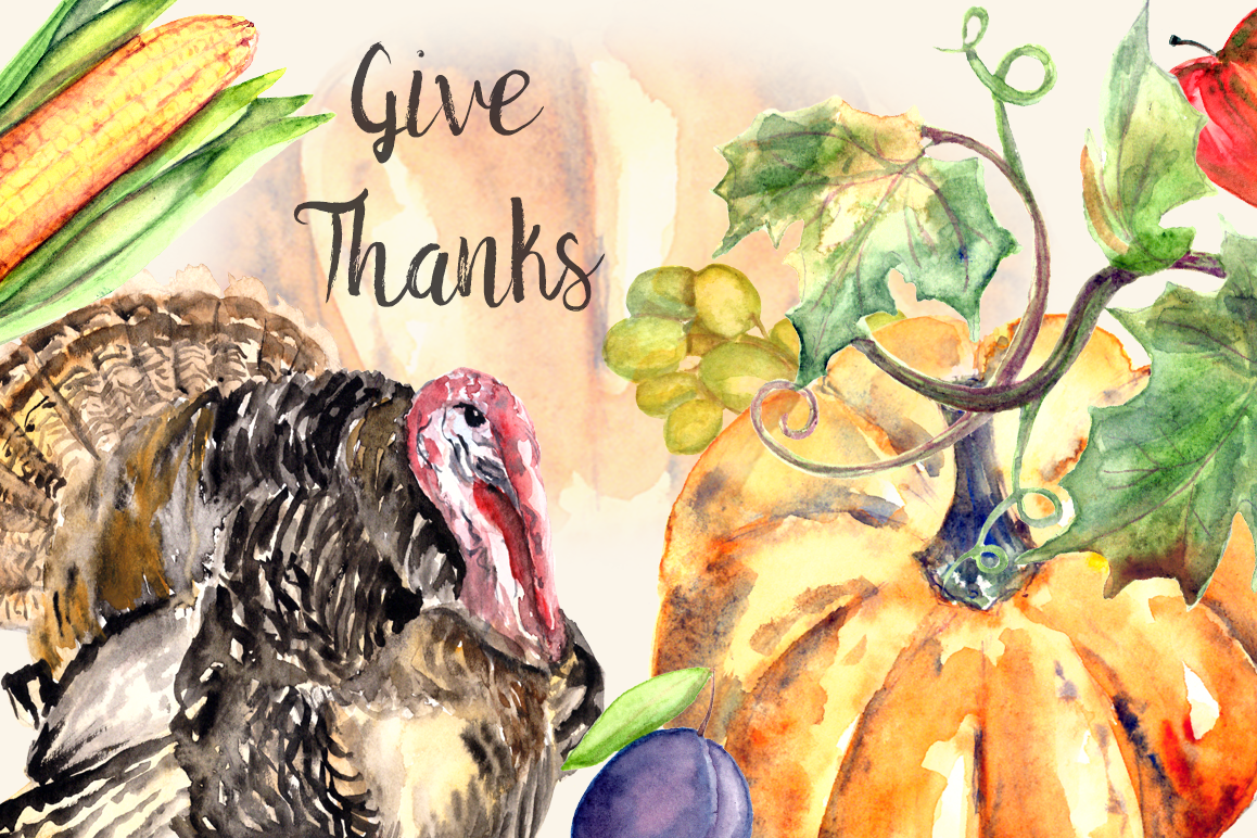 Give Thanks - Watercolor Clip art Set  example image 1
