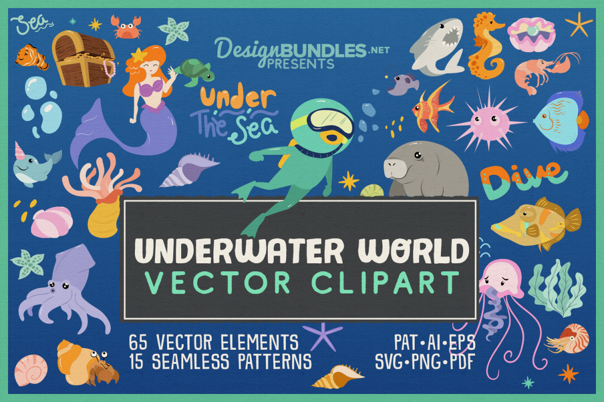 Underwater World 65 Vector Clipart & Seamless Patterns example image 1
