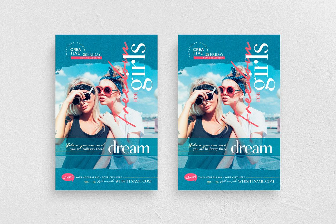 Freedom For Girls Flyer Template example image 1