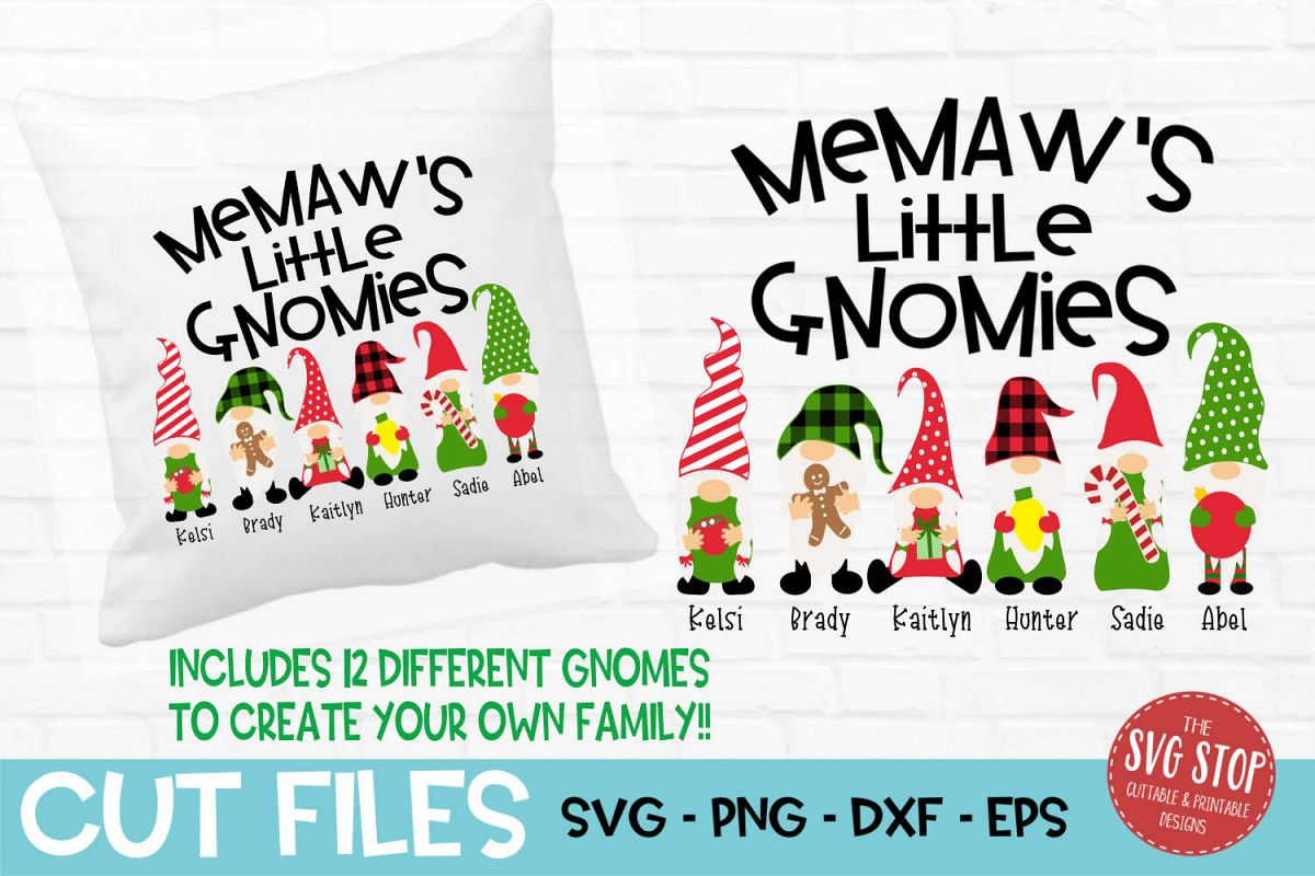 Memaw's Little Gnomies Christmas SVG, PNG, DXF, EPS example image 1