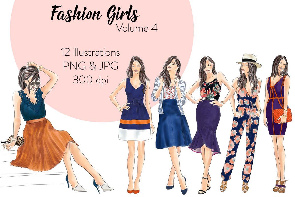 Fashion illustration clipart - fashion Girls - Volume 4 example image 1