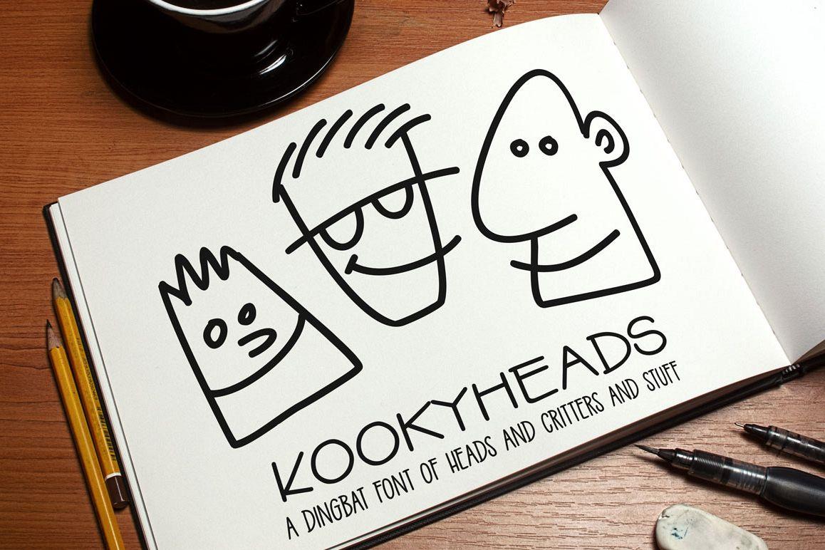 Kookyheads - a dingbat doodle font! example image 1