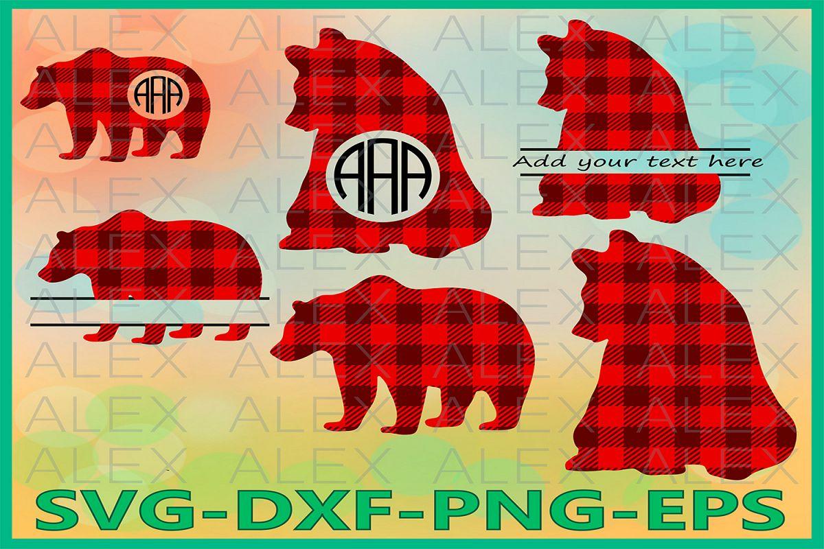 Bear Svg, Bear Buffalo Plaid, Buffalo Plaid svg, Cricut Cut example image 1