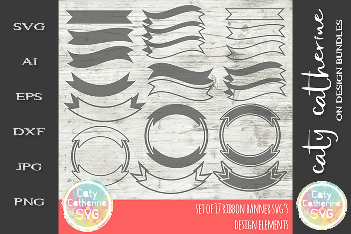 Ribbon Banner Design Elements SVG Set of 17 Cut Files example image 1