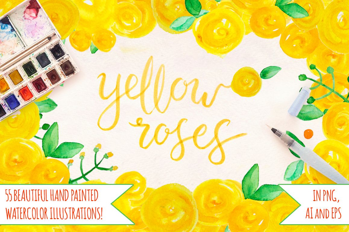 55 Bright Yellow Watercolour Roses, Leaves and Spots example image 1