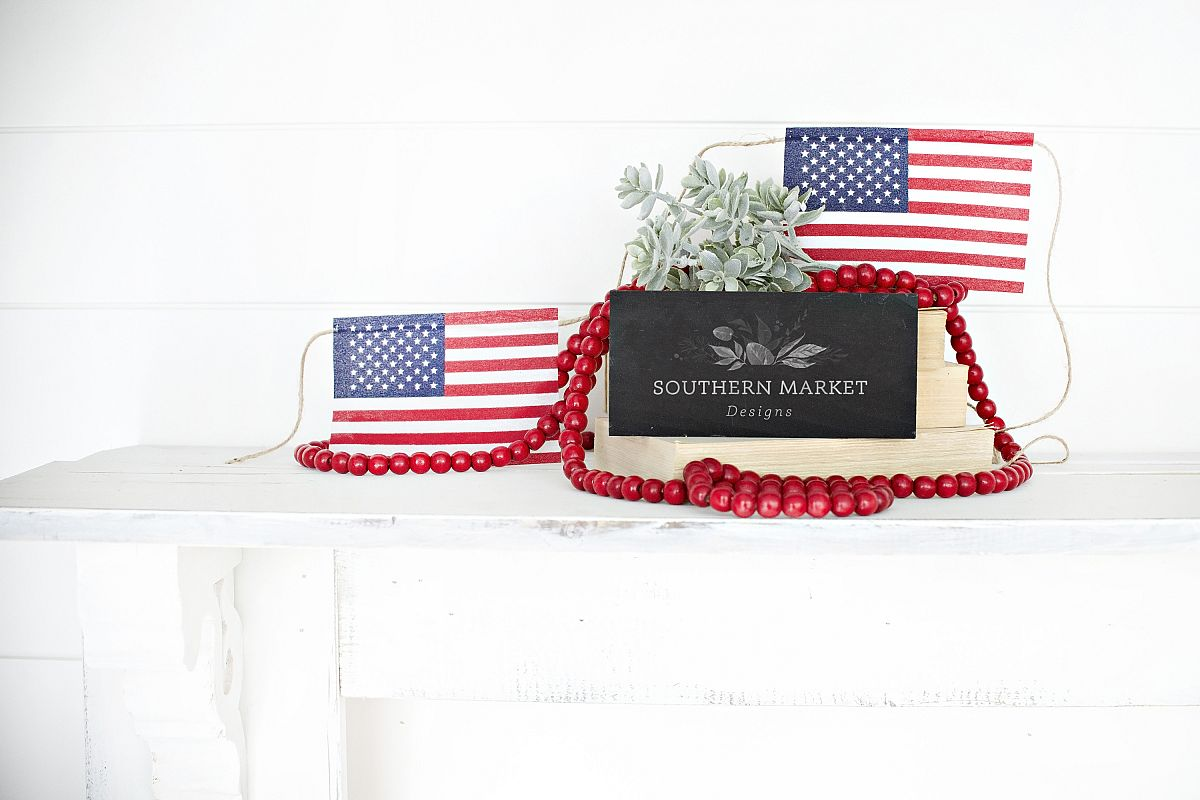 Patriotic Summer Wood 4x6 Sign Mock Up Stock Photo example image 1