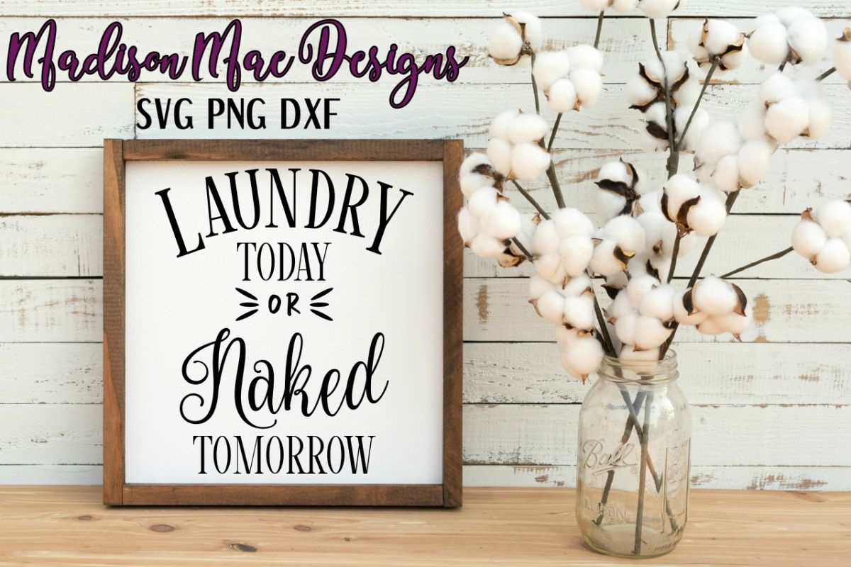 Laundry Today or Naked Tomorrow SVG Digital Cut File example image 1