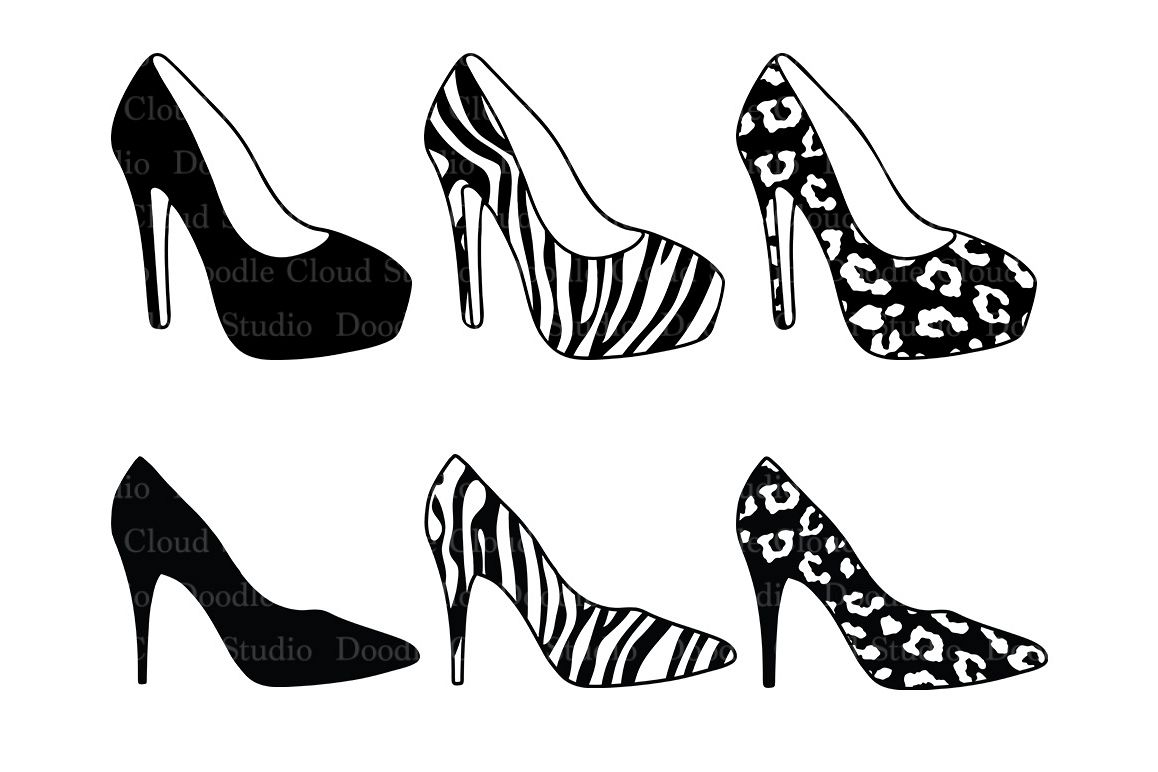1f31771cb Women's high heel shoes SVG files for Silhouette Cameo and Cricut. l  Leopard shoes Zebra