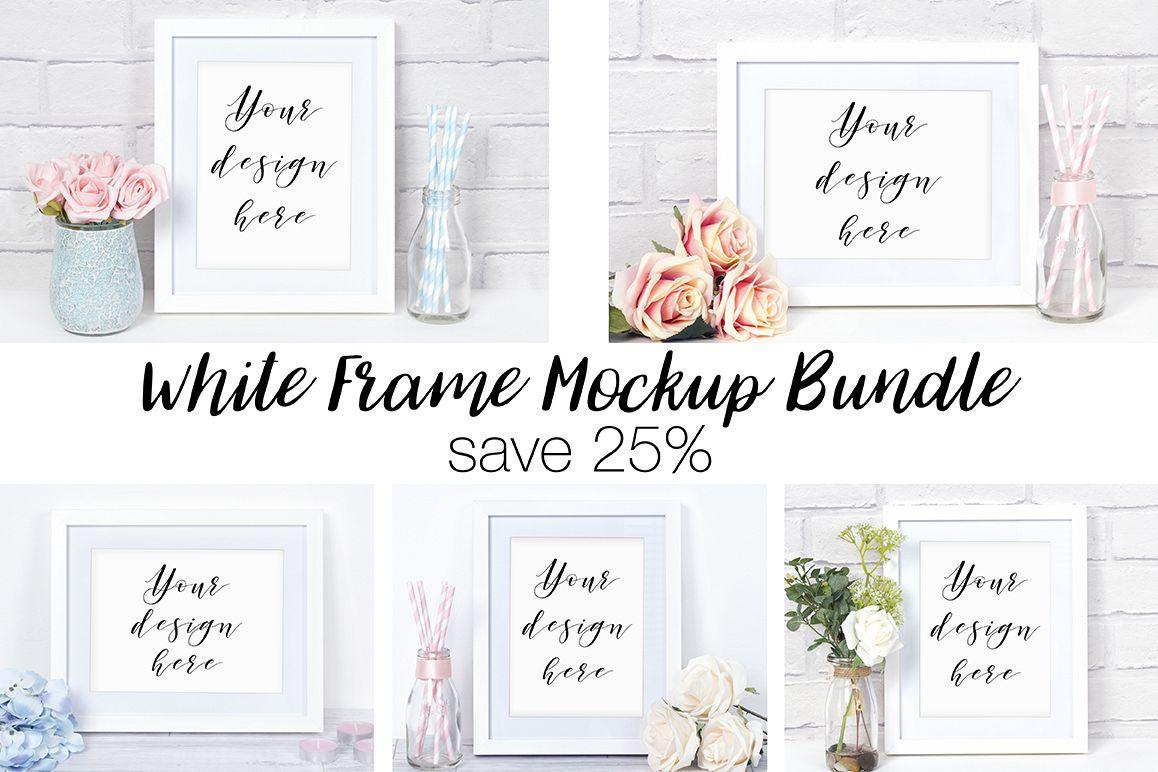 White Frame Mockup Photography Bundle b | Design Bundles
