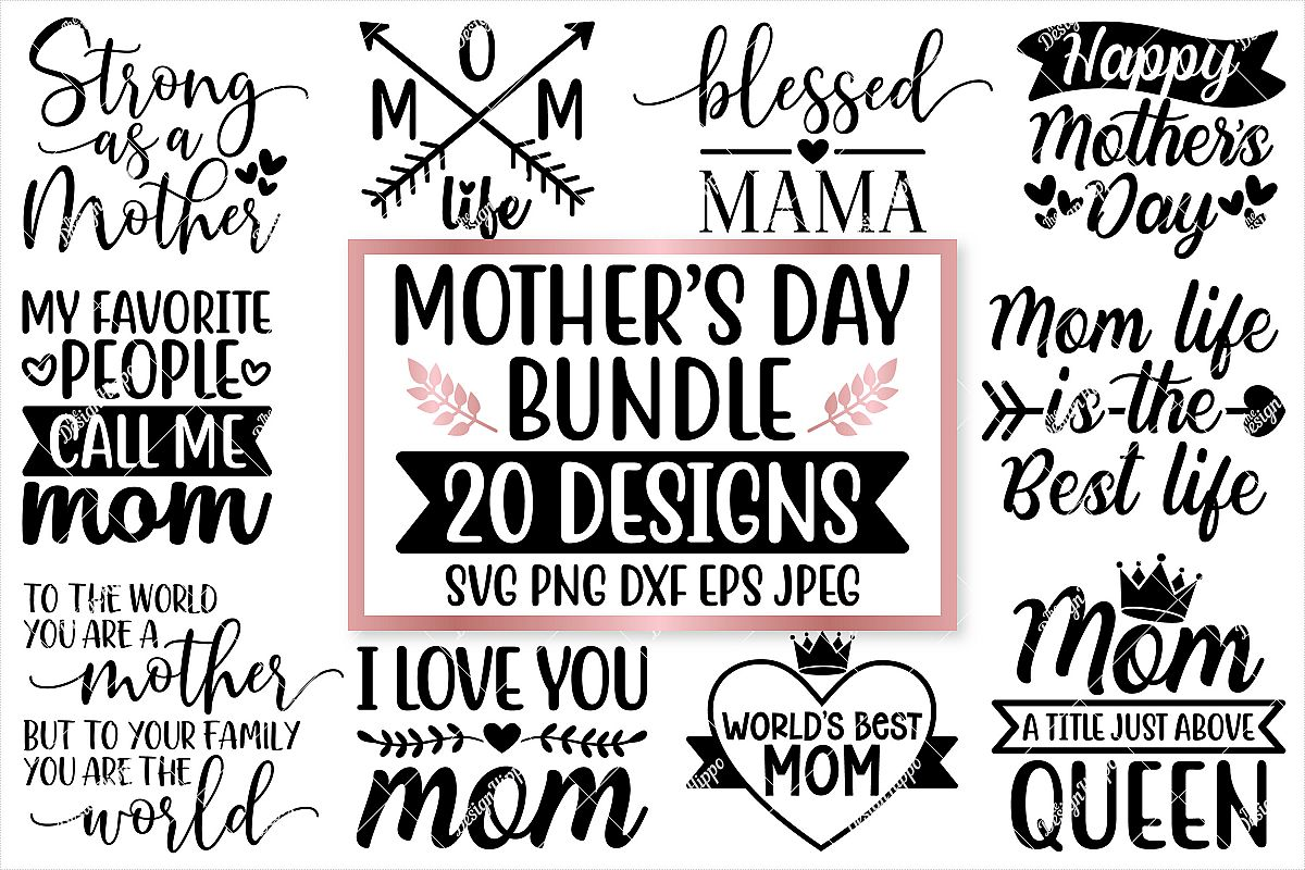 Mother's Day SVG Bundle, 20 Designs, SVG PNG DXF Cut Files example image 1