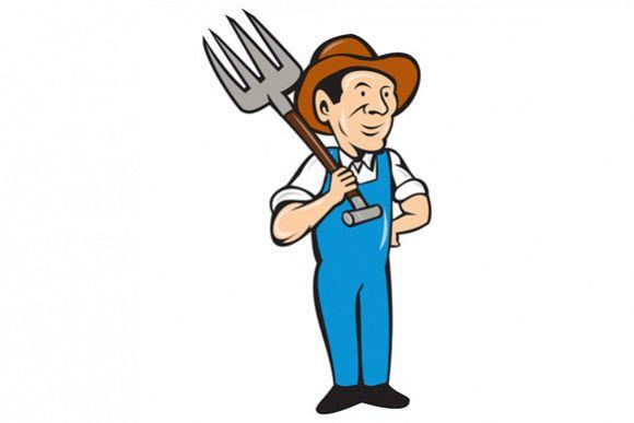 Farmer Pitchfork Shoulder Standing Cartoon example image 1