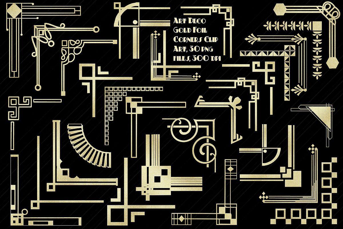 Art Deco Gold Foil Corners Clip Art example image 1