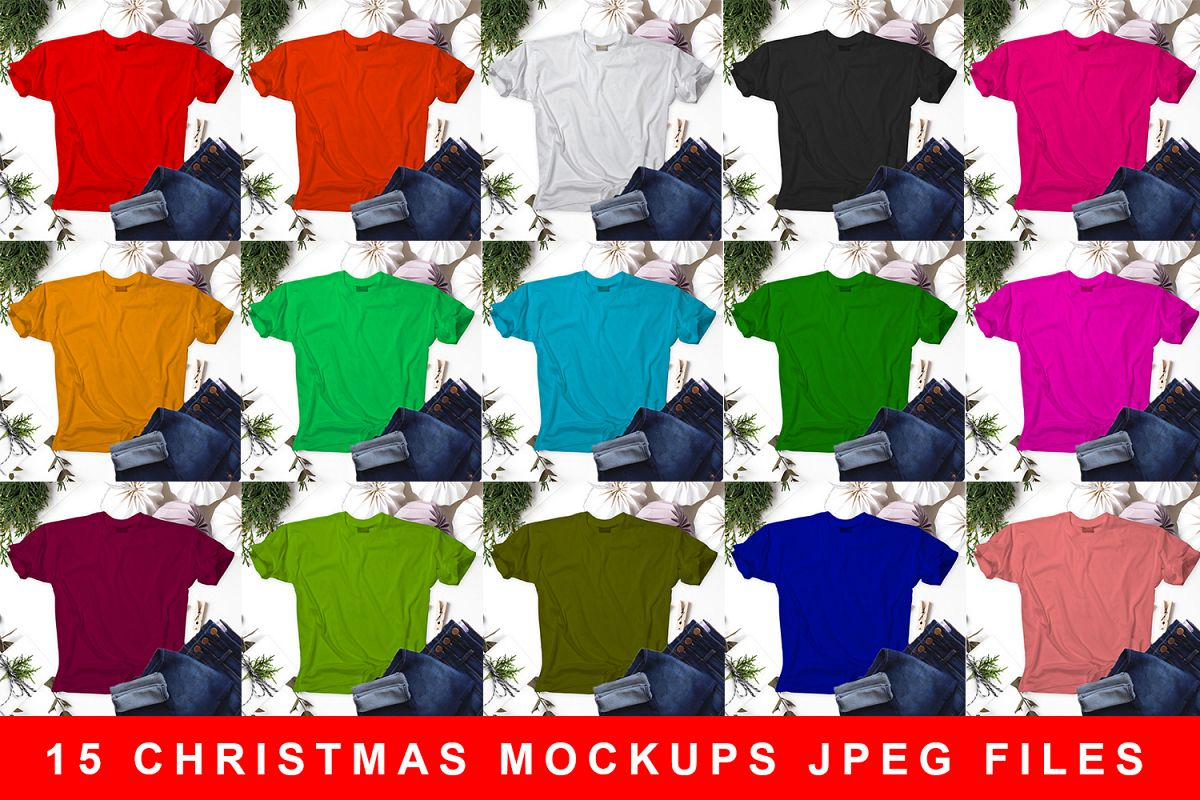 15 Christmas T-shirt Mockup JPEG Files example image 1