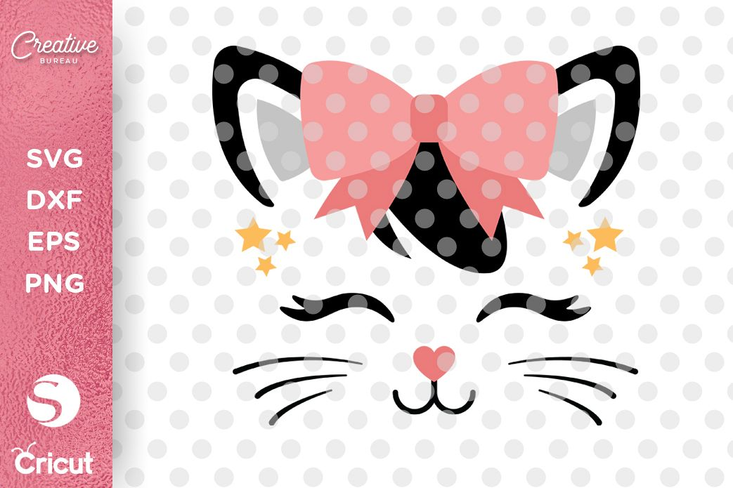 Cute Cat Face SVG DXF, Girl T-shirt SVG, Cat Face SVG example image 1