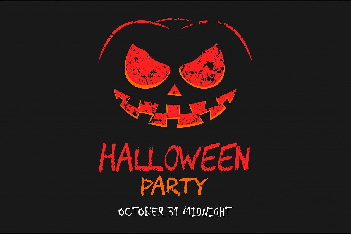 Scary halloween party with pumpkin background  example image 1