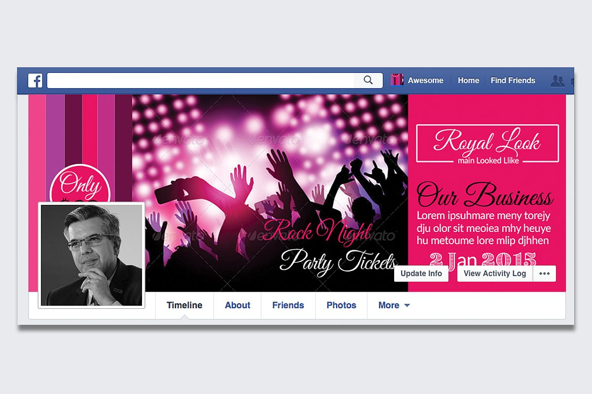 Music Concert Night Facebook Timeline Cover example image 1