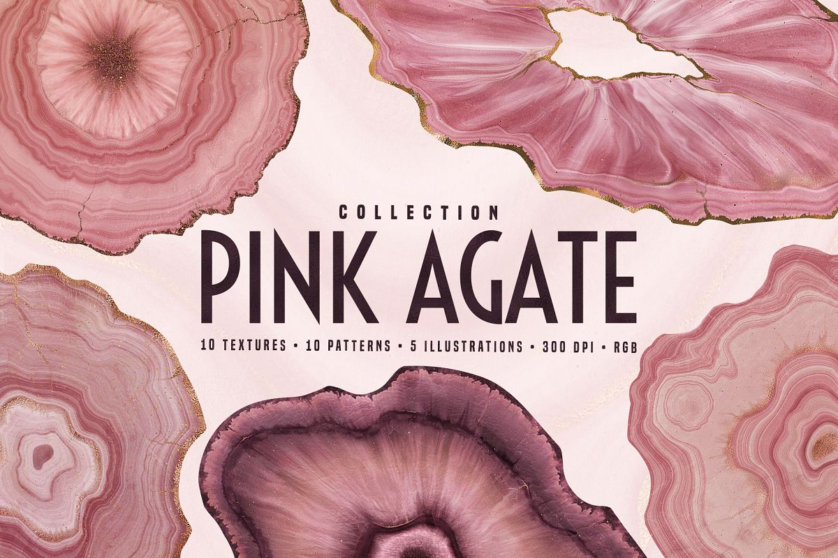 Pink Agate Illustrations, Textures & Patterns example image 1