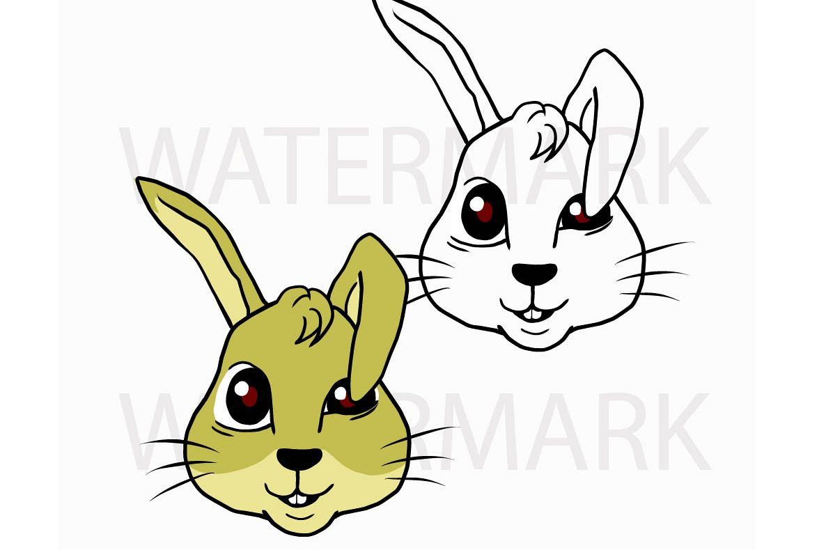 Bunny Rabbit Head so Cute! Type B - SVG/JPG/PNG Hand Drawing example image 1