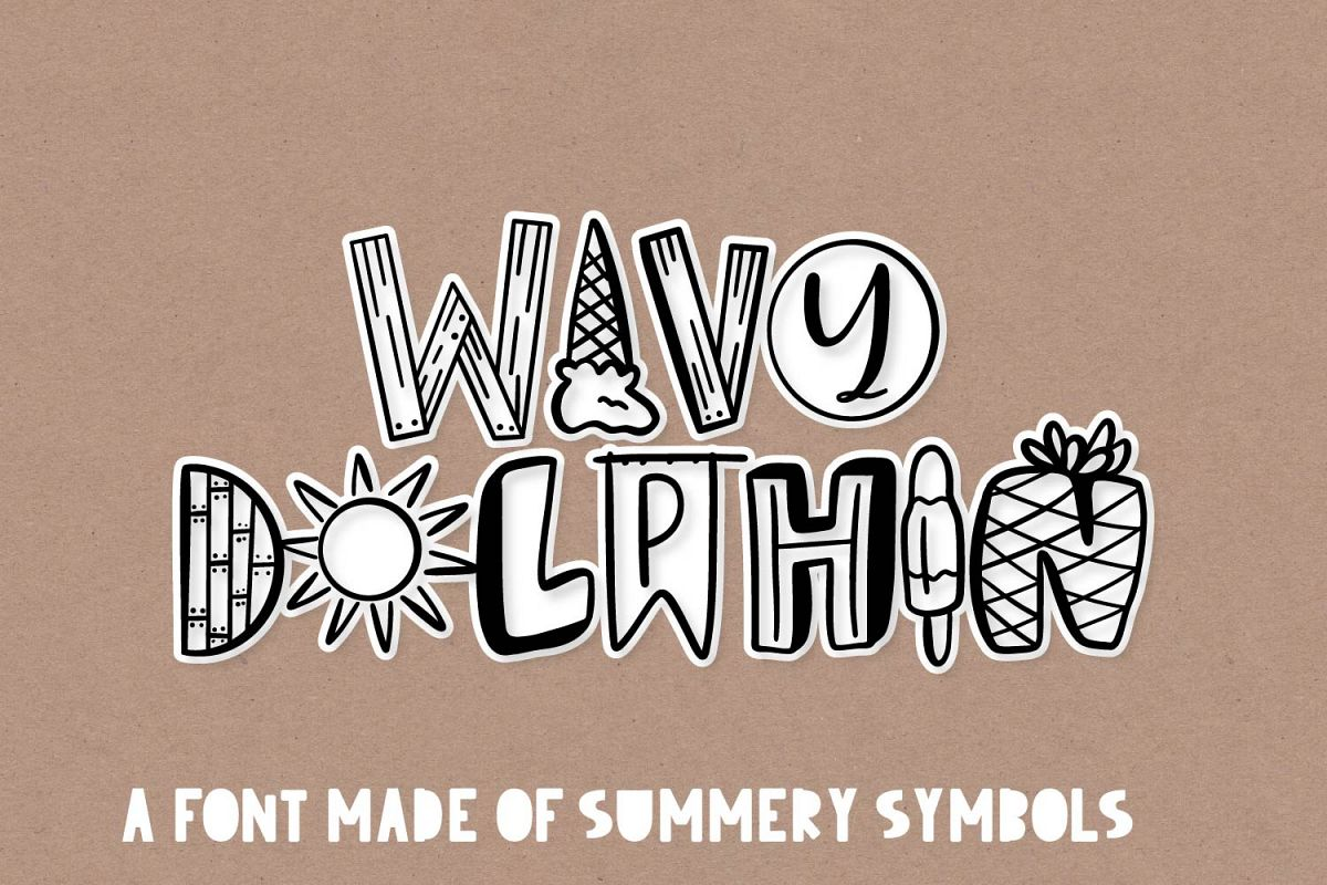 Wavy Dolphin - A Summer Word-Art Font example image 1