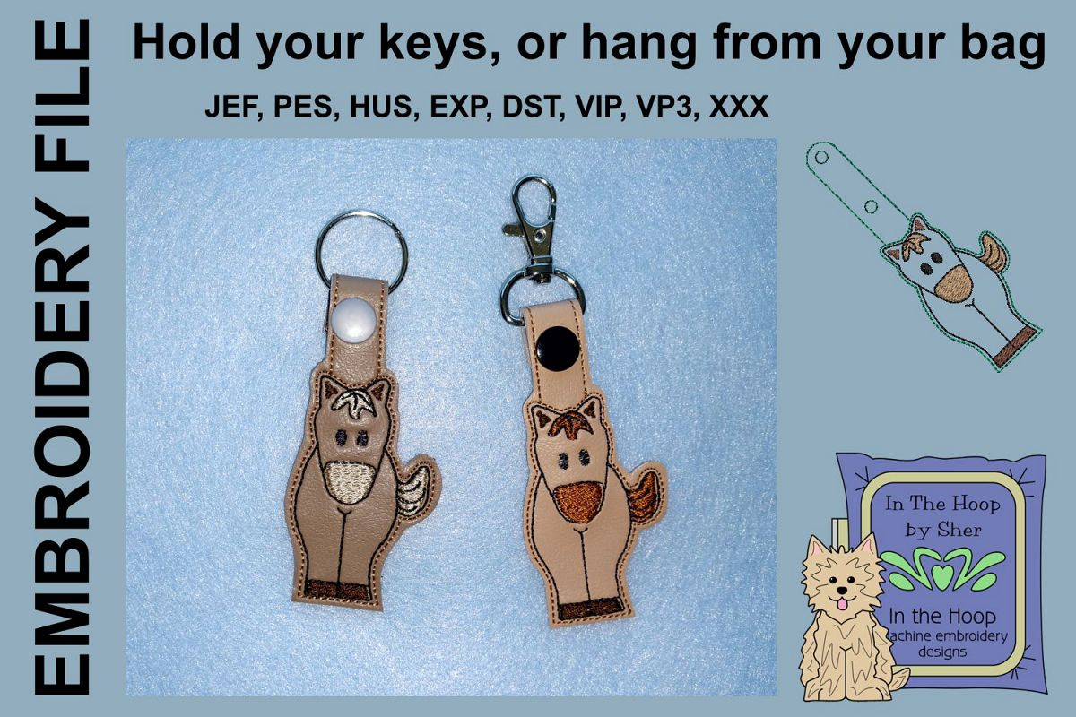 ITH Little Horse Key Fob - Embroidery Design example image 1