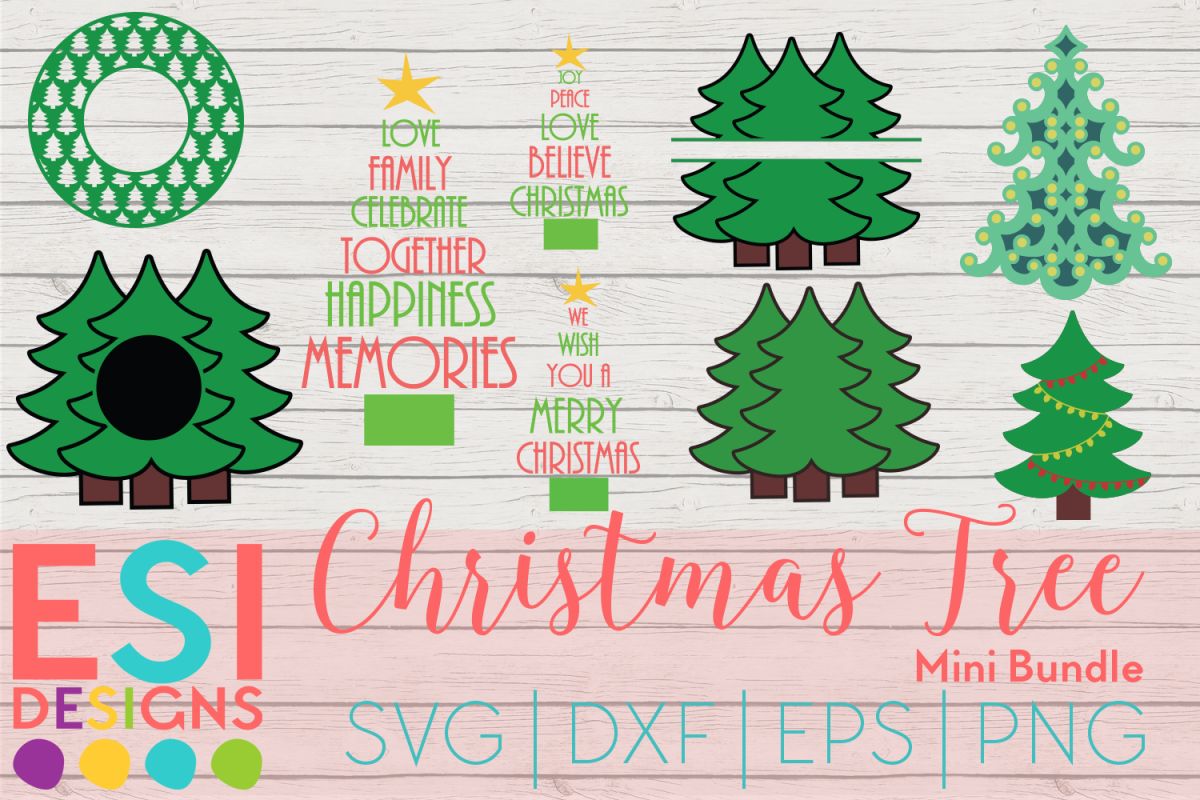 Christmas Tree Mini Bundle | SVG DXF EPS PNG Cutting Files example image 1