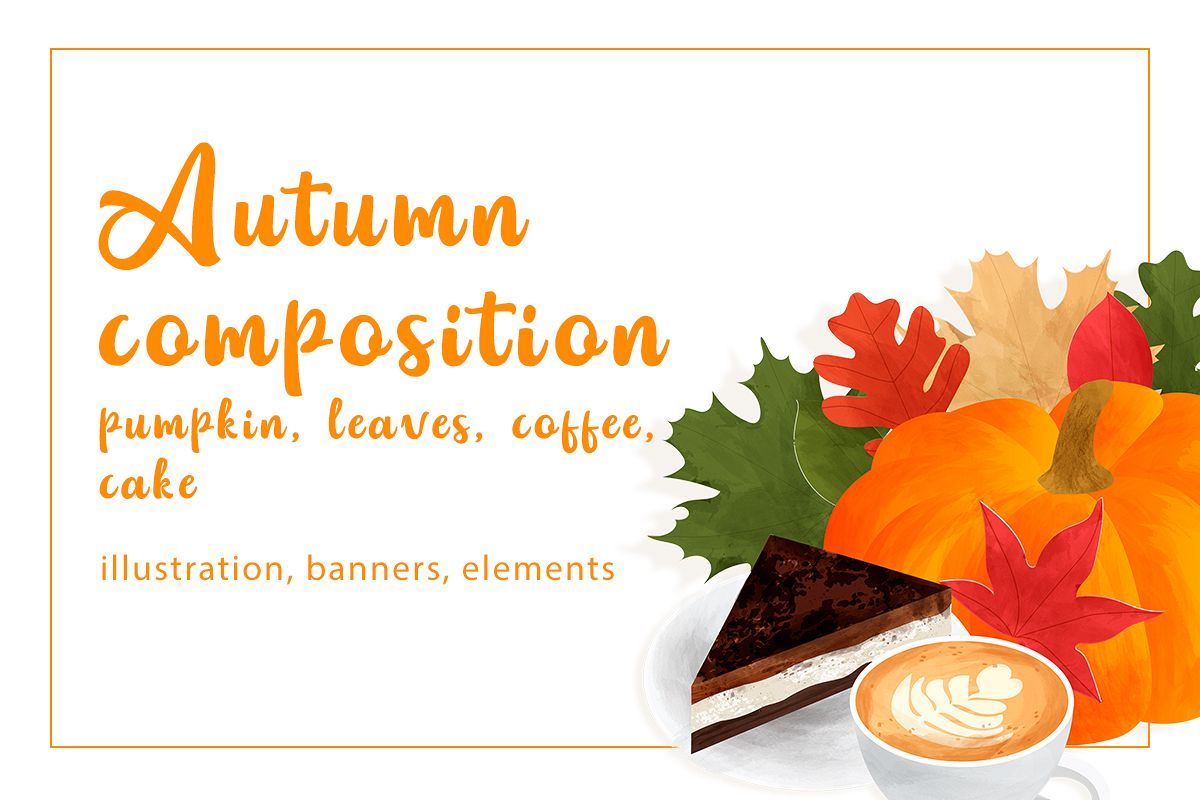 Autumn composition with pumpkin, leaves, coffee, cake example image 1