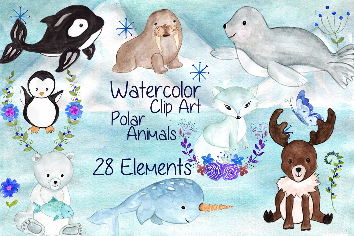 Watercolor polar animals clipart example image 1