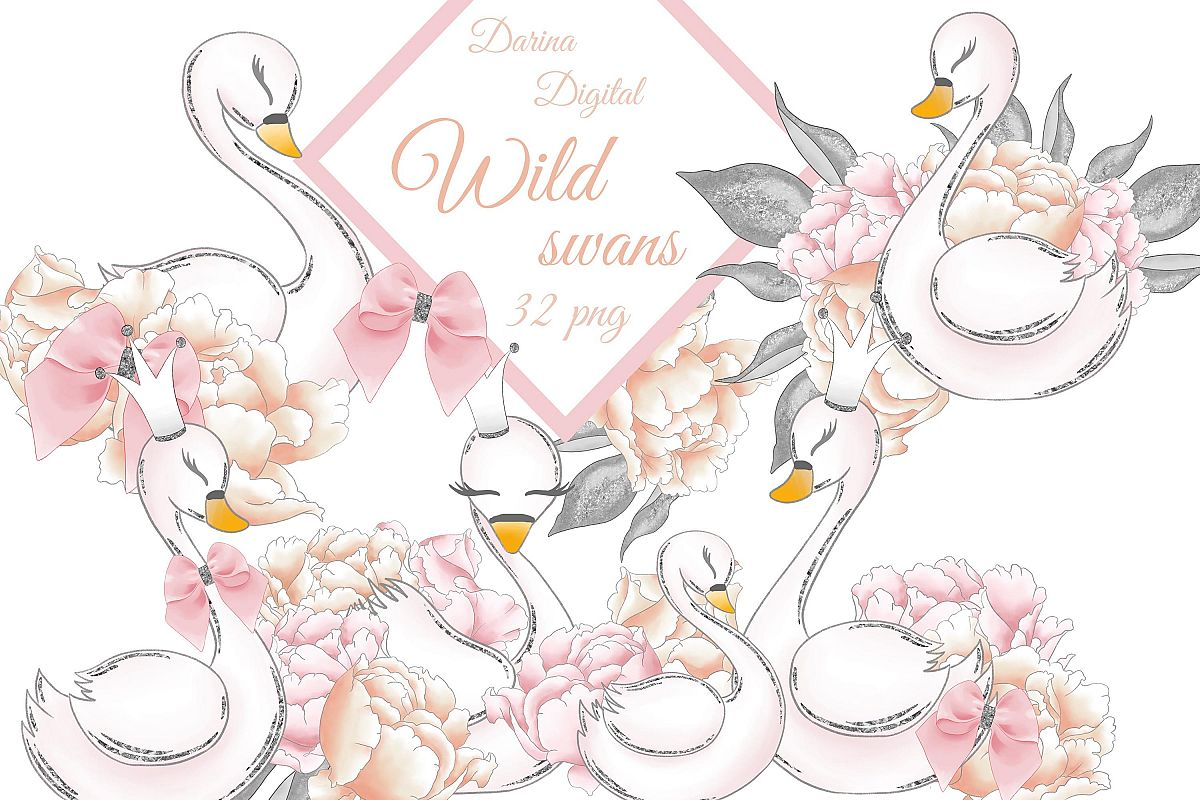 Wild swans clipart example image 1